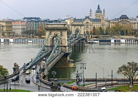 Сhain bridge in Budapest on a cloudy day . Hungary.