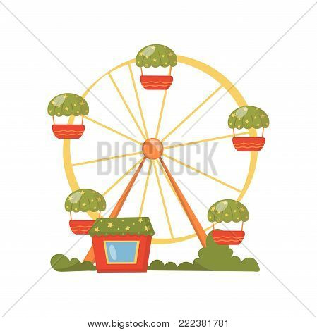 Ferris wheel, carousel in amusement park cartoon vector Illustration on a white background