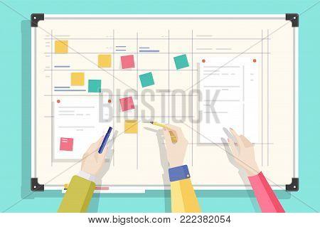 Magnetic whiteboard with table drawn on it, notes sticked by magnets and hands holding pen and pencil. Board for effective daily planning, scheduling, timetable. Colorful flat vector illustration