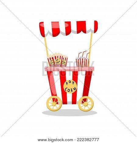 Popcorn cart on wheels, food kiosk cartoon vector Illustration on a white background
