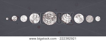 Planets organized in row against dark background. Solar planetary system drawn in monochrome colors. Celestial bodies in outer space. Cosmic objects arranged in horizontal line. Vector illustration