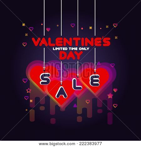 Colorful Valentines Day Sale poster. Sale background with bright light effect. Vector illustration. Sale offer, banner template.