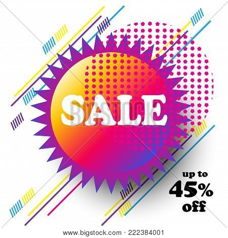 Sale discount banner concept - Different technique dynamic hipster color gift card coupon modern art price tag round frame template futuristic style.