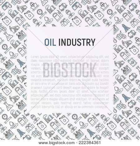 Oil industry concept with thin line icons: gas, petroleum, diesel,  truck, tanker, ship, refinery, barrel. Modern vector illustration, web page template.
