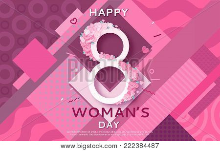 Trendy geometric women s day banner, 8 march poster in modern 90s 80s memphis style with paper art or origami elements, patterns, woman silhouette, colorful vector illustration, fashion background