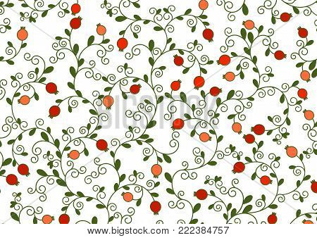 Vector illustration of Jewish holiday, new year of trees for Tu Bishvat. A tree with pomegranate fruits, branches, swirls for greeting card or poster