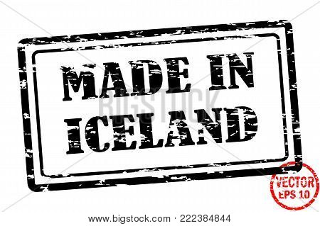 Made in Iceland - template of grunged black square stamp for business isolated on white background. Usable as rubber, banner, label, logo, icon or watermark for manufactured products etc.