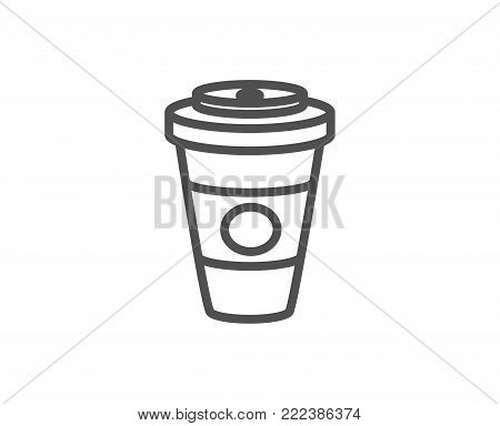 Takeaway Coffee or Tea line icon. Hot drink sign. Beverage symbol. Quality design element. Editable stroke. Vector