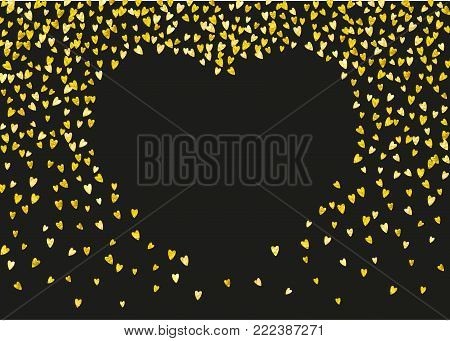 Valentines day card with gold glitter hearts. February 14th. Vector confetti for valentines day card template. Grunge hand drawn texture. Love theme for gift coupons, vouchers, ads, events.
