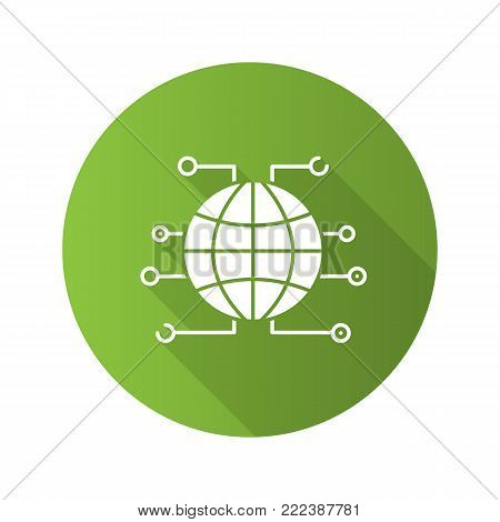 Global cryptocurrency flat design long shadow glyph icon. World wide web. Cryptocurrency. Globe. Vector silhouette illustration