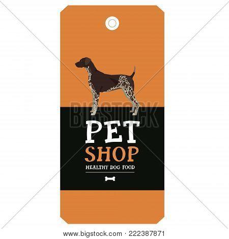 Poster Pet Shop Design label German shorthaired pointer Geometric style set