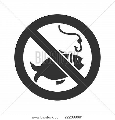 Forbidden sign with fish glyph icon. No fishing prohibition. Silhouette symbol. Negative space. Vector isolated illustration