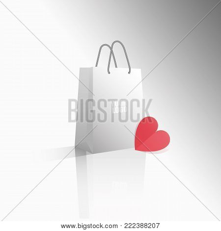 Vector 3D icon empty realistic white paper package or bag with your logo and red heart for shopping or gifts. Sale for Valentine's Day or any other holiday