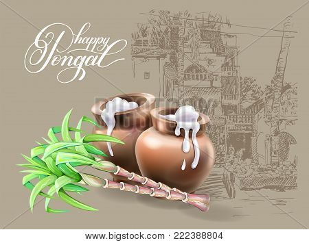 happy Pongal greeting card to south indian harvest festival design, vector illustration