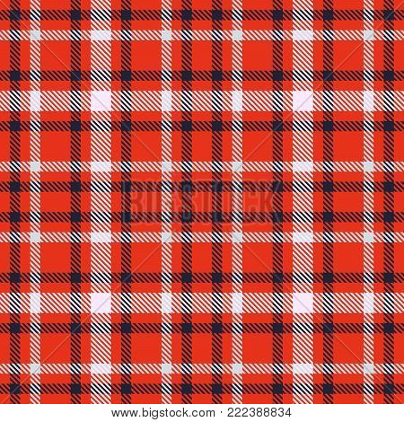 Red black and white tartan seamless vector pattern. Checkered plaid texture. Geometrical simple square background for fabric, textile, cloth, clothing, shirts, shorts, dress, blanket, wrapping design