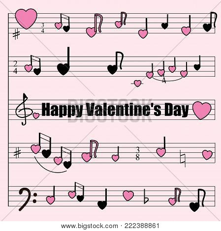 Greeting card for Valentine's Day: a musical mill with stylized notes, violin and bass keys, hearts. Musical romantic background. An interesting version of the texture of the packaging paper.