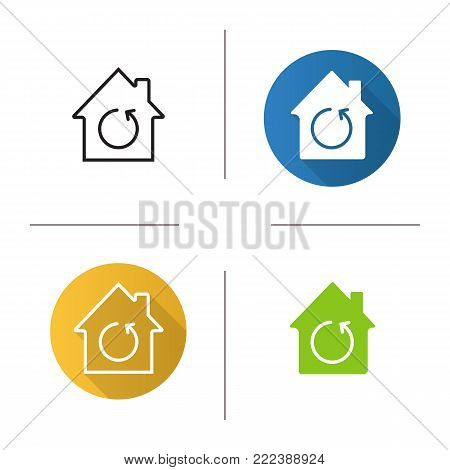 Home renovation icon. Flat design, linear and glyph color styles. House with reload sign inside. Isolated vector illustrations