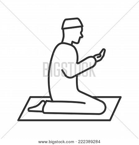 Praying muslim man linear icon. Thin line illustration. Worship. Islamic culture. Contour symbol. Asking to Allah. Vector isolated outline drawing