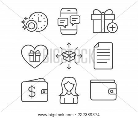 Set of Woman, Dishwasher timer and Parcel delivery icons. Phone messages, File and Dollar wallet signs. Romantic gift, Add gift and Money wallet symbols. Vector