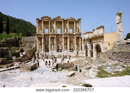 Selçuk, Turkey - April 21, 2008: View of the ruins of the ancient Roman library of Celsus in the ancient city of Ephesus.