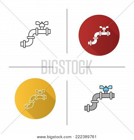 Pipe with valve icon. Flat design, linear and color styles. Water pipe. Isolated vector illustrations