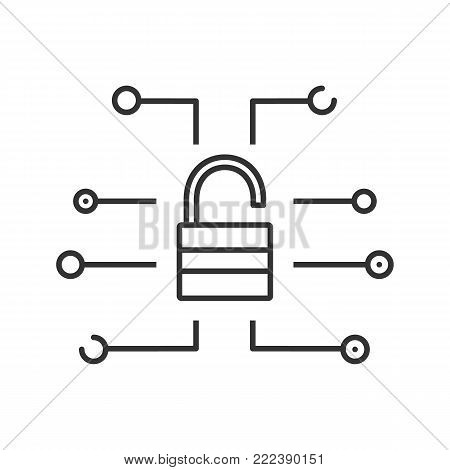 Cyber security linear icon. Thin line illustration. Password. Open padlock. Contour symbol. Vector isolated outline drawing