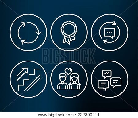 Set of Recycling, Success and Update comments icons. Stairs, Couple love and Chat messages signs. Reduce waste, Award reward, Chat speech bubble. Stairway, People in love, Communication. Vector