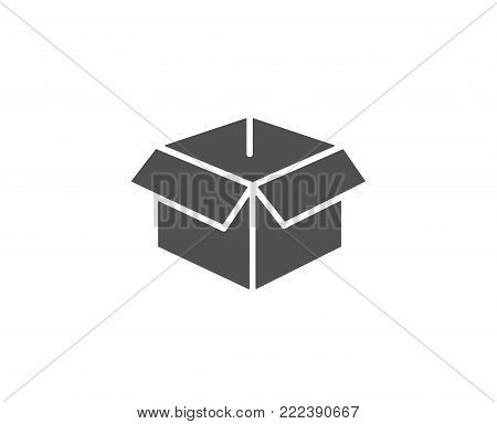 Opened box simple icon. Logistics delivery sign. Parcels tracking symbol. Quality design elements. Classic style. Vector