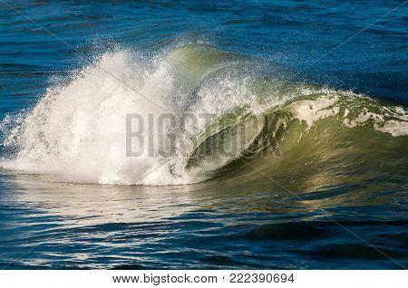 Waves crashing near the beach on the Atlantic Ocean.