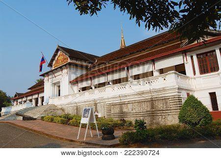 LUANG PRABANG, LAOS - FEBRUARY 14, 2007: Exterior of the Haw Kham Royal Palace in Luang Prabang, Laos.
