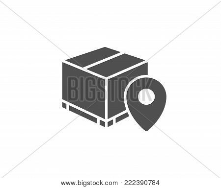 Parcel tracking simple icon. Delivery monitoring sign. Shipping box location symbol. Quality design elements. Classic style. Vector