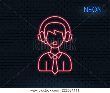 Neon light. Shipping support line icon. Delivery manager sign. Logistics help symbol. Glowing graphic design. Brick wall. Vector