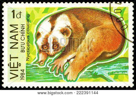 Ukraine - circa 2018: A postage stamp printed in Vietnam show Sunda Slow Loris or Nycticebus coucang. Series: Endangered Animals. Circa 1984.