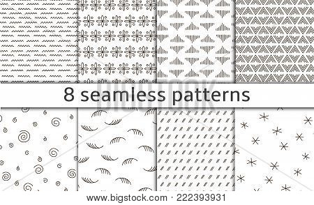 Set of 8 Modern abstract simple vector seamless patterns with monochrome trellis. Repeating geometric grid. Bends, doodles and tittles. graphic design. dots, curls, swirls, scrawl, scrabble, scribble