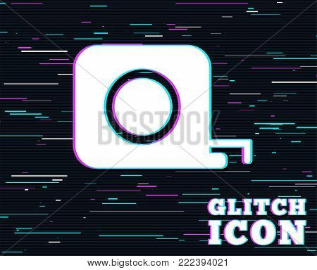 Glitch effect. Roulette construction sign icon. Tape measure symbol. Background with colored lines. Vector