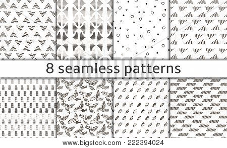 Set of 8 Modern abstract simple vector seamless patterns with monochrome trellis. Repeating geometric grid. Bends, doodles and tittles. Simple graphic design. Abstract design, lines, dots, waves