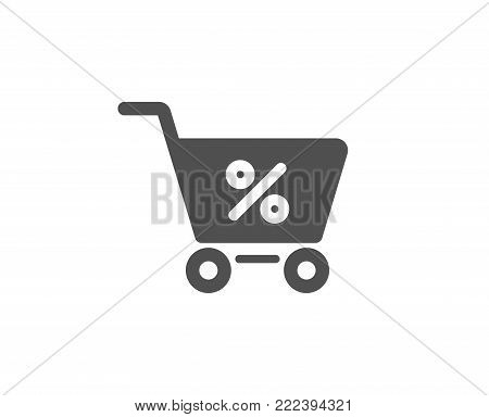 Shopping cart with Percentage simple icon. Online buying sign. Supermarket basket symbol. Quality design elements. Classic style. Vector