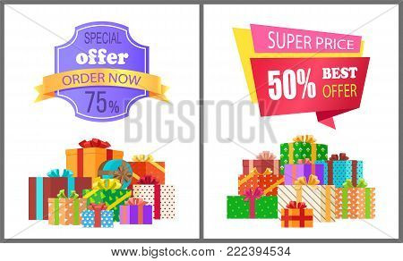 Order now special exclusive offer super price 75 50 sale posters piles of gift boxes wrapped in decorative color paper vector illustration banners