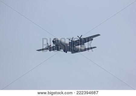 CHIANGMAI , THAILAND- MARCH 5 2014: 60105 C-130 of Royal Thai Air force. Landing to Chiangmai Airport.