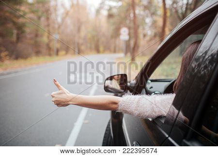 Female traveler on the road holding thumbs up. Fall vacation, holidays, travel, road trip and people concept. Close up Hand. Autumn concept. Autumn forest journey by car.
