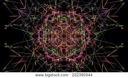 Bright abstract lighting mandala. Silk symmetry series. poster