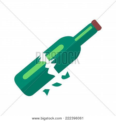Broken in two pieces dark green blue glass bottle of beer with long neck, purple lid and some shards isolated vector illustration on white background
