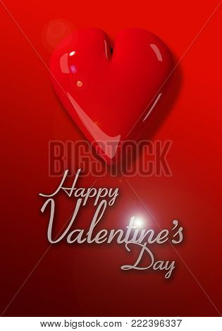 Valentine's Day image with a single red heart on a graduated red background and text.