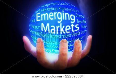 Emerging Markets globe people background blue plan