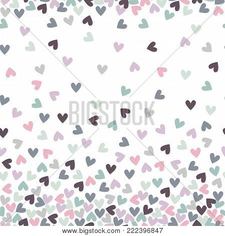 Sweet hearts. Seamless pattern with hand drawn hearts. Heart with doodle ornament. Colorful background for St. Valentine's Day.