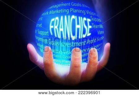 Franchise globe people background blue plan power