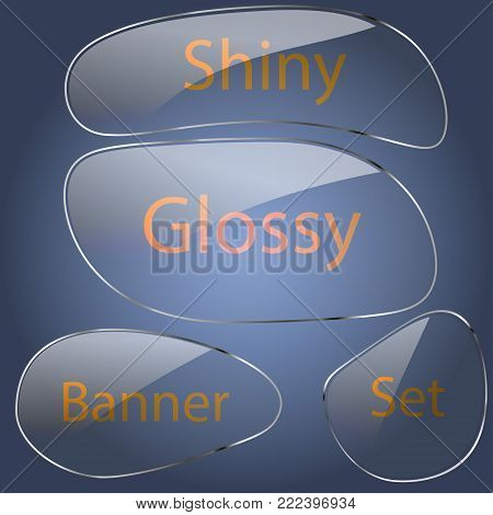 set of glass banners streamlined shape on a blue background