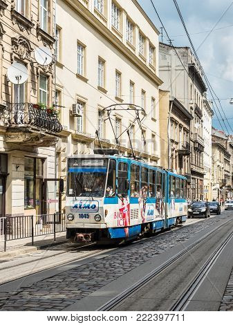 Lviv, Ukraine - May 31, 2016: The electric tramway in the historic city centre of Lviv. It is the only tram system in the Western Ukraine, the largest among the narrow-gauge tram systems in Ukraine.