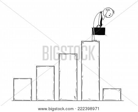 Cartoon stick man drawing conceptual illustration of businessman standing on top of chart and watching low profit data. Business concept of bankrupt and crisis.