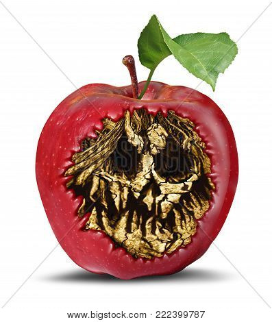 Poison apple and food safety concept as a rotten fruit with a death hidden skull inside as a symbol of witchcraft or magical curse and contamination in a 3D illustration style.